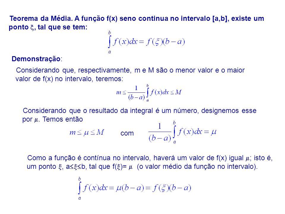 Teorema da Média. A função f(x) seno continua no intervalo [a,b], existe um ponto , tal que se tem: